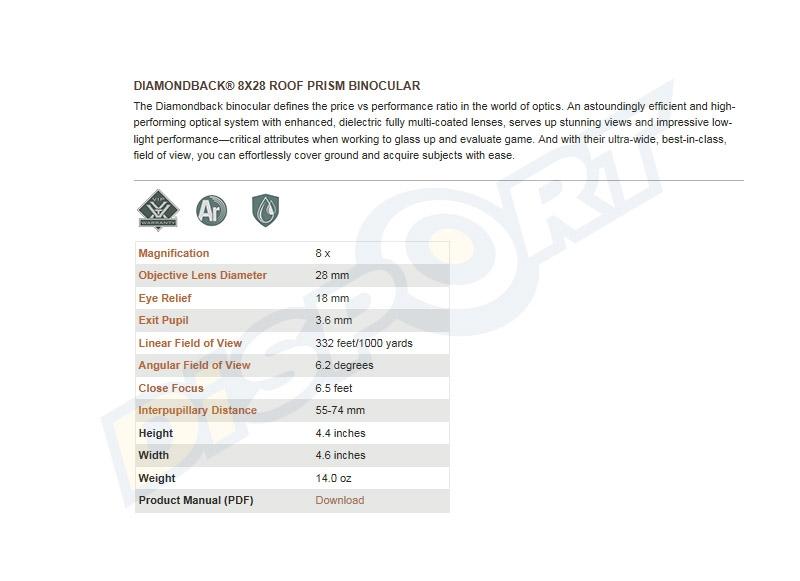 VORTEX OPTICS BINOCOLO - DIAMONDBACK 8x28 DB-200