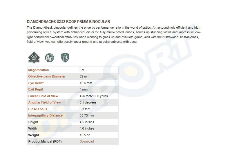 VORTEX OPTICS BINOCOLO - DIAMONDBACK 8x32 DB-202